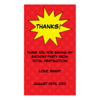 Red Save the Day Superhero Birthday Favor Tags Double-Sided Standard Business Cards (Pack Of 100)