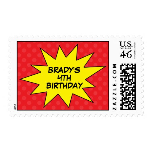 Red Save the Day Superhero Birthday Postage Stamps