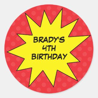 Red Save the Day Superhero Custom Round Birthday Classic Round Sticker