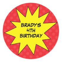 Red Save the Day Superhero Custom Round Birthday Stickers