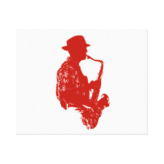 Red sax player side view outline wearing hat canvas print