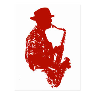 Red sax player side view outline wearing hat postcard