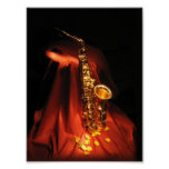 Red Saxophone Poster