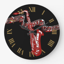 Red Saxophone Stylish and Cool Large Clock