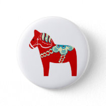 Red Scandinavian Dala Horse Button