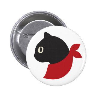 Red Scarf Black Cat 2 Inch Round Button