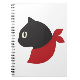 Red Scarf Black Cat Spiral Notebooks