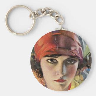Red Scarf Gypsy Lady Keychain