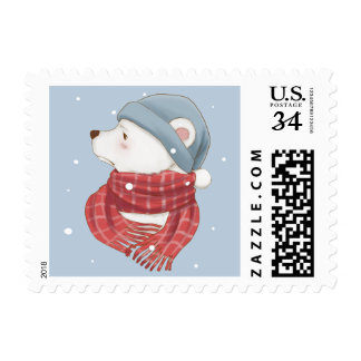 Red Scarf Polar Bear Hate the Cold Snowy Winter Postage