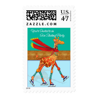 Red Scarfed Ice Skating Giraffe Party Postage
