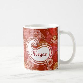 Red scarlet  paisley classic white coffee mug