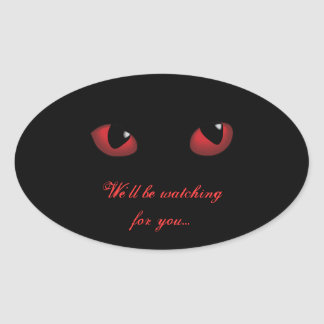 Red Scary Eyes Halloween Seal Stickers