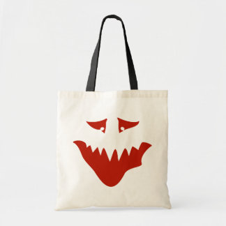 Red Scary Face Monster Canvas Bags