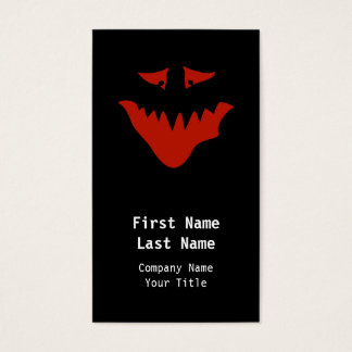 Red Scary Face. Monster. Business Card