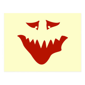 Red Scary Face. Monster. Postcard
