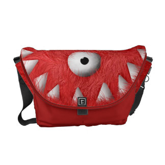 Red Scary Furry Monster Messenger Bag