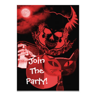 Red Scary Halloween Party Invitations
