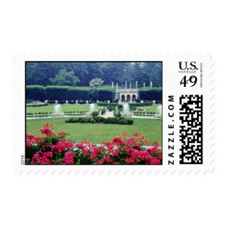 Red Scene from conservatory balcony, Longwood Gard Postage Stamp