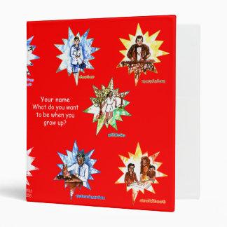 Red school binder w Professionals as Cartoons