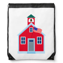 Red School House Drawstring Backpack