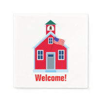 Red School House Paper Napkin