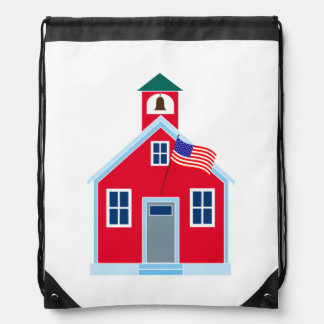 Red School House Drawstring Bags