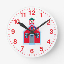 Red School House Round Clock
