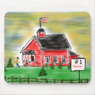 Red School House Teacher Mouse Pad