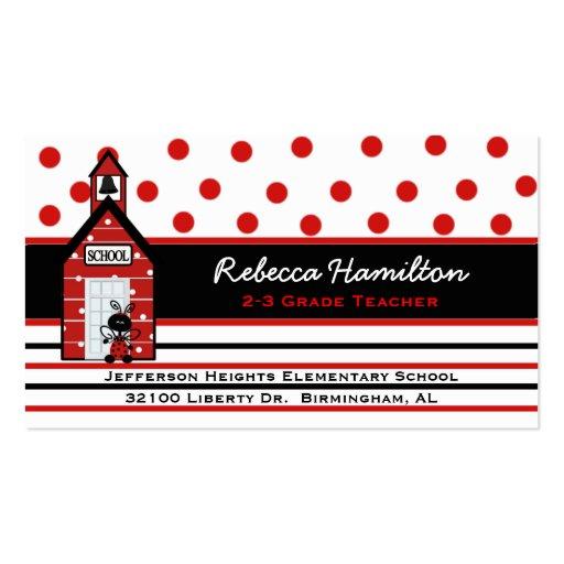 Red School House Teacher's Business Card