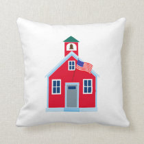 Red School House Throw Pillow