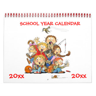 Red School Year Calendar For Kids