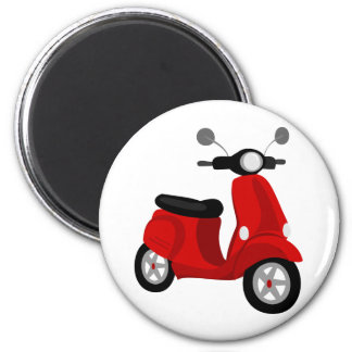 Red Scooter 2 Inch Round Magnet