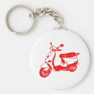 Red Scooter Basic Round Button Keychain