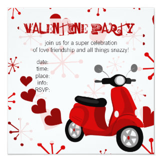 Red Scooter with Hearts! Card