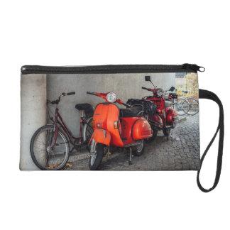 Red scooters in Berlin Wristlet Purse