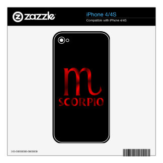 Red Scorpio Horoscope Symbol Decals For iPhone 4