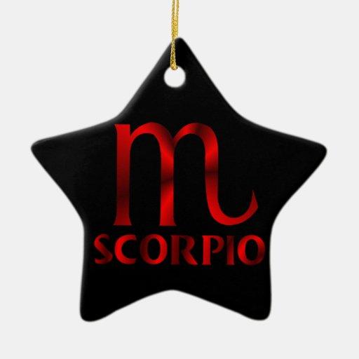 Red Scorpio Horoscope Symbol Double-Sided Star Ceramic Christmas Ornament