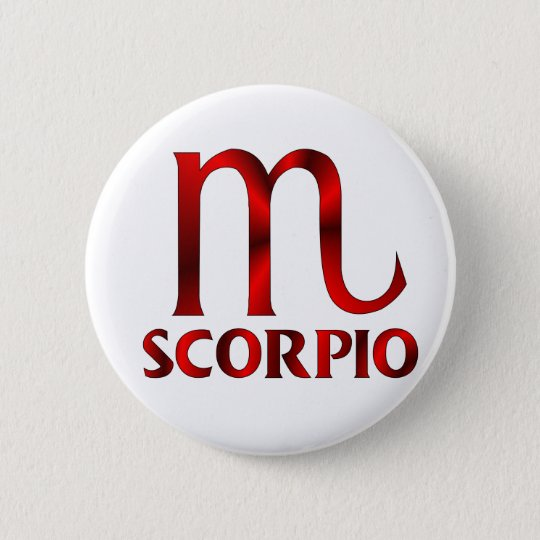 Red Scorpio Horoscope Symbol Pinback Button