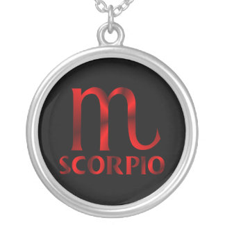 Red Scorpio Horoscope Symbol Silver Plated Necklace