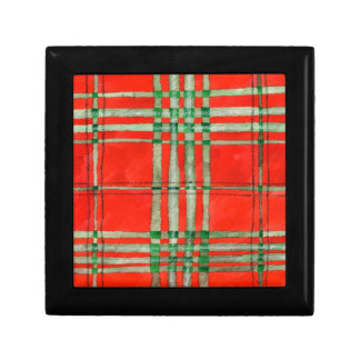 "Red Scott Tartan 5"" Square Gift Box with Tile Lid"