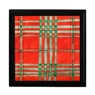 "Red Scott Tartan 7"" Square Gift Box with Tile Lid"