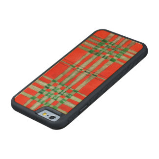 Red Scott Tartan Carved Maple iPhone 6 Bumper Case