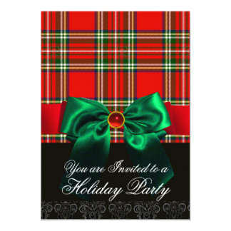 RED SCOTTISH TARTAN AND GREEN BOW CHRISTMAS PARTY CARD