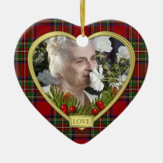 Red Scottish Tartan Memorial Heart Photo Christmas Ceramic Ornament