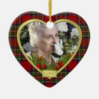 Red Scottish Tartan Memorial Heart Photo Christmas Ornaments