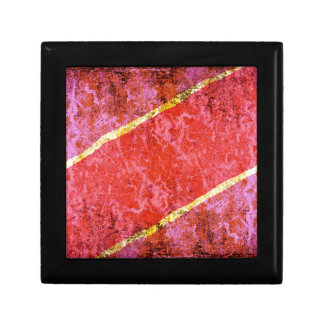 Red scratched background with yellow stripes gift box