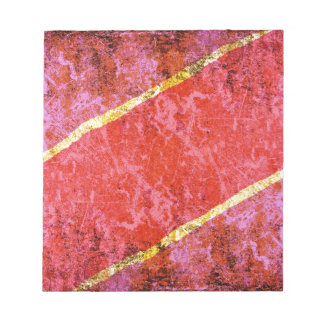 Red scratched background with yellow stripes notepad