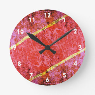 Red scratched background with yellow stripes round clock