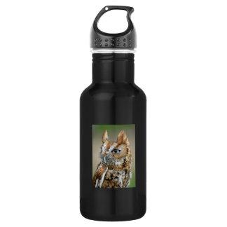 Red Screech Owl Water Bottle
