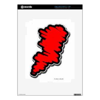 Red Scribble Decal For iPad 2
